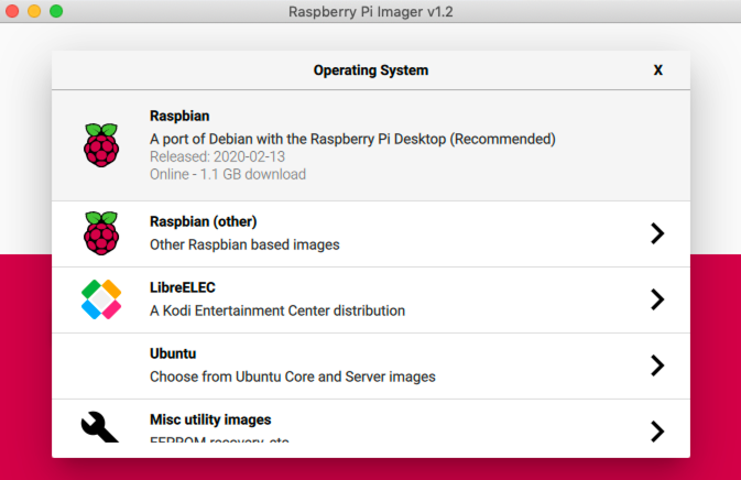 Raspberry Pi Imager Choose OS