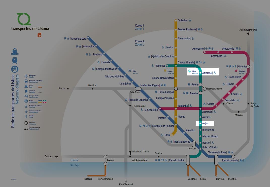 Map to Lisbon Subway map