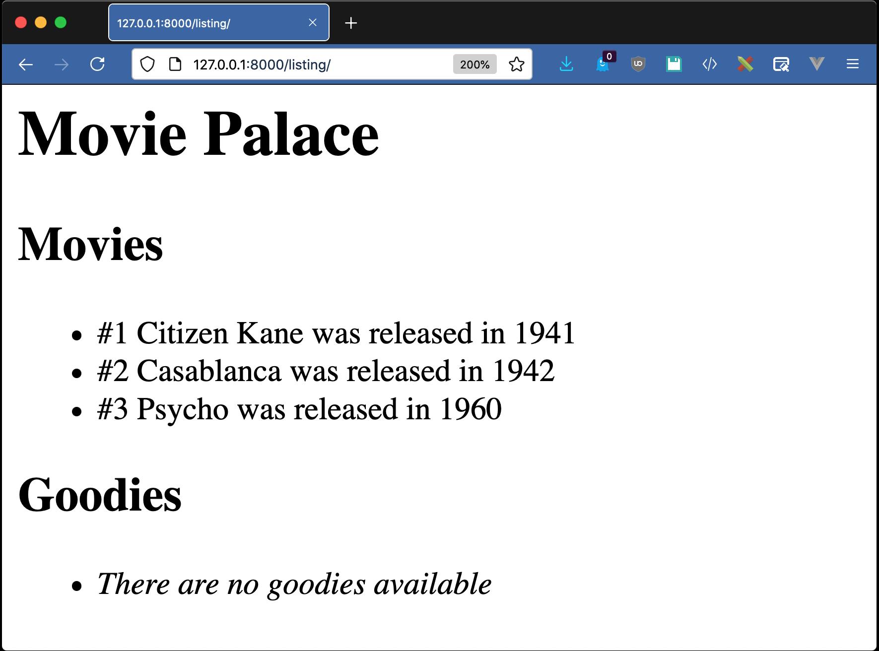 Django templates example, MoviePalace listing