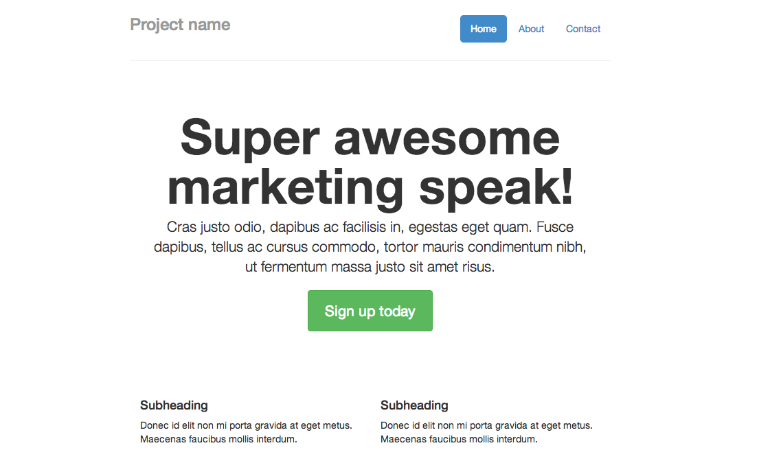 Bootstrap 3 Marketing Narrow Example
