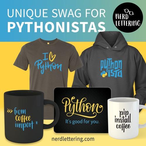 Nerdlettering Python Swag