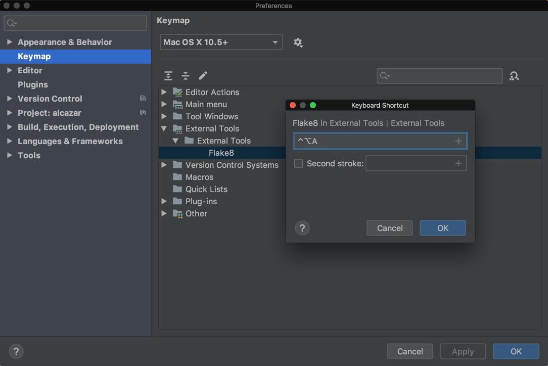 Add shortcut in PyCharm