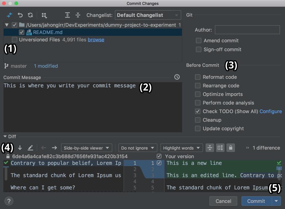 Commit window in PyCharm