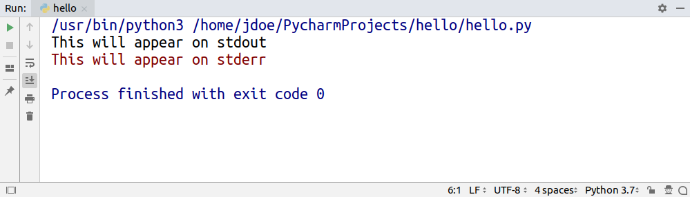 The output of a program executed in PyCharm