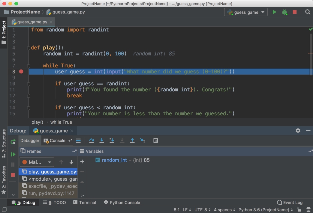 Start of debugging in PyCharm