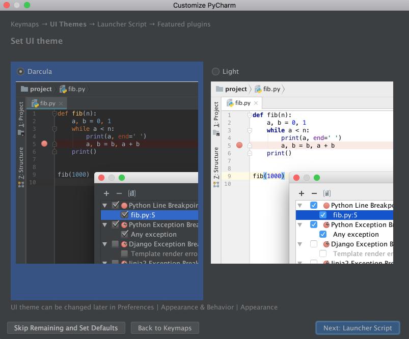 PyCharm Set UI Theme Page