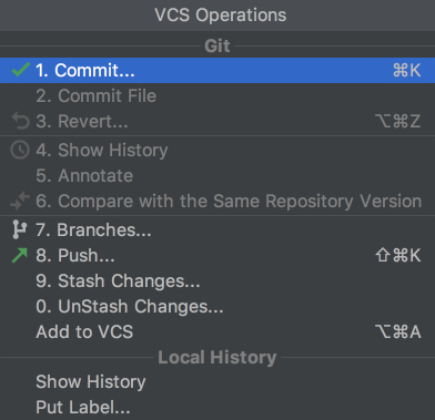 VCS operations in PyCharm