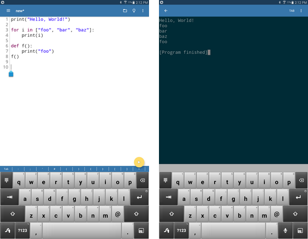 Pydroid 3 editor、width = 620、 height = 480
