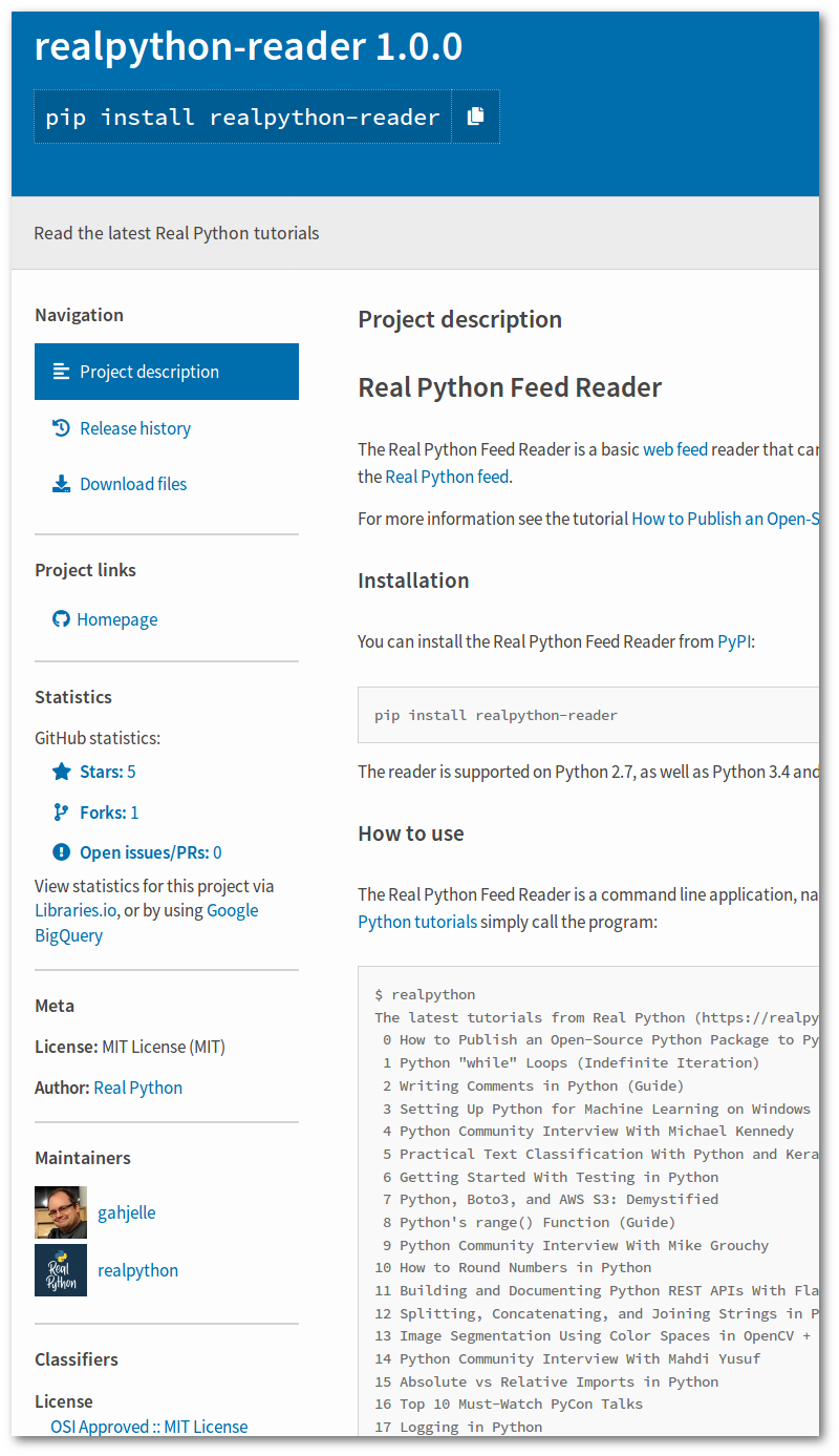 Information about the <code>realpython-reader</code> package at PyPI