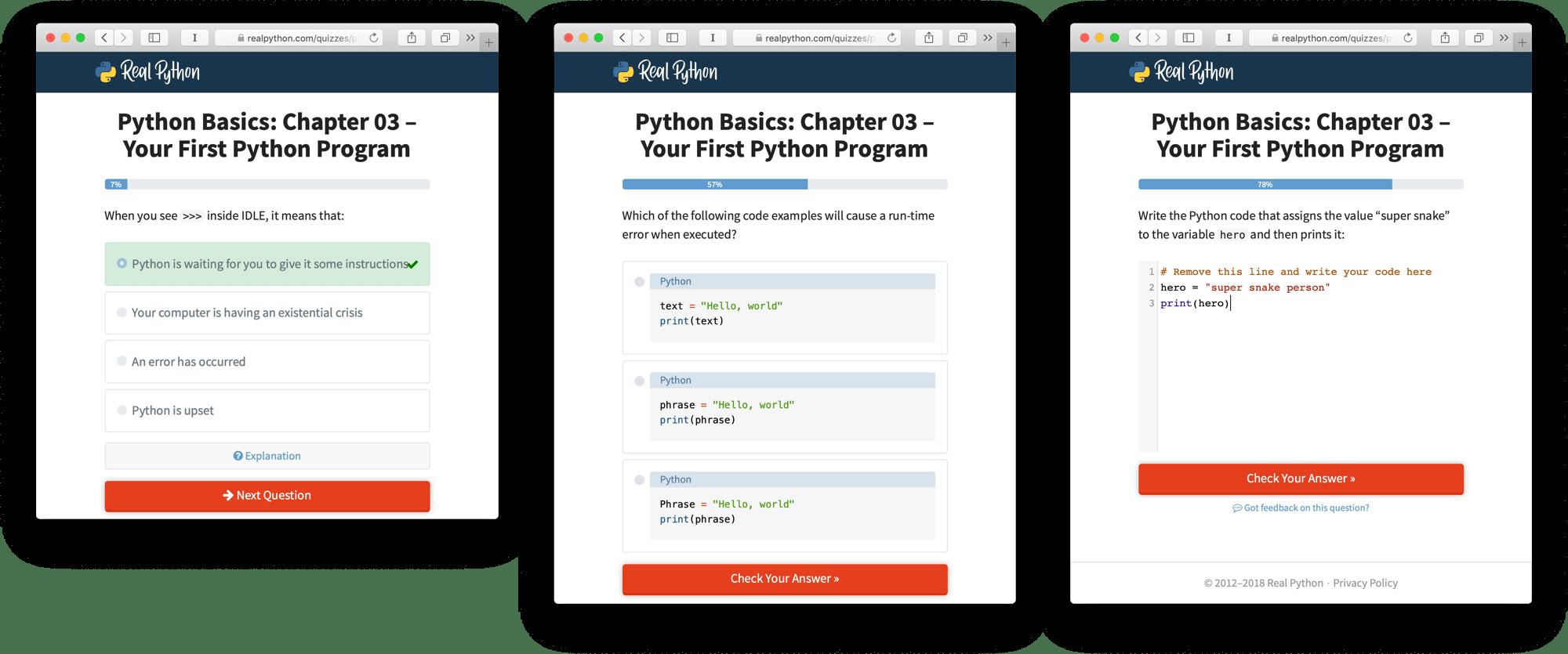 Python Basics Book Quiz