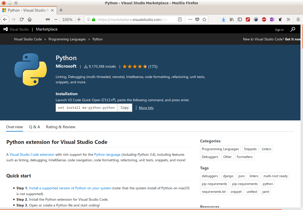 Installing the Python extension for VSCode