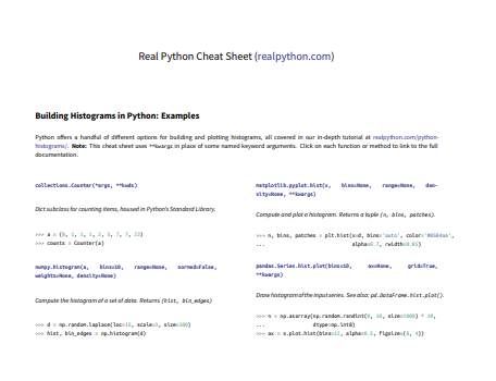 Python Histograms Cheat Sheet (Preview)