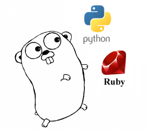 Python, Ruby and Golang logos