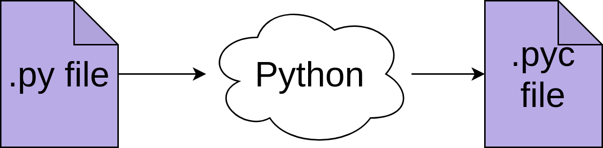 Python compiles a py file into a pyc file.