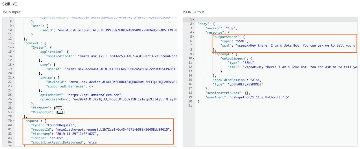 Alexa Skill Test JSON Input/Output