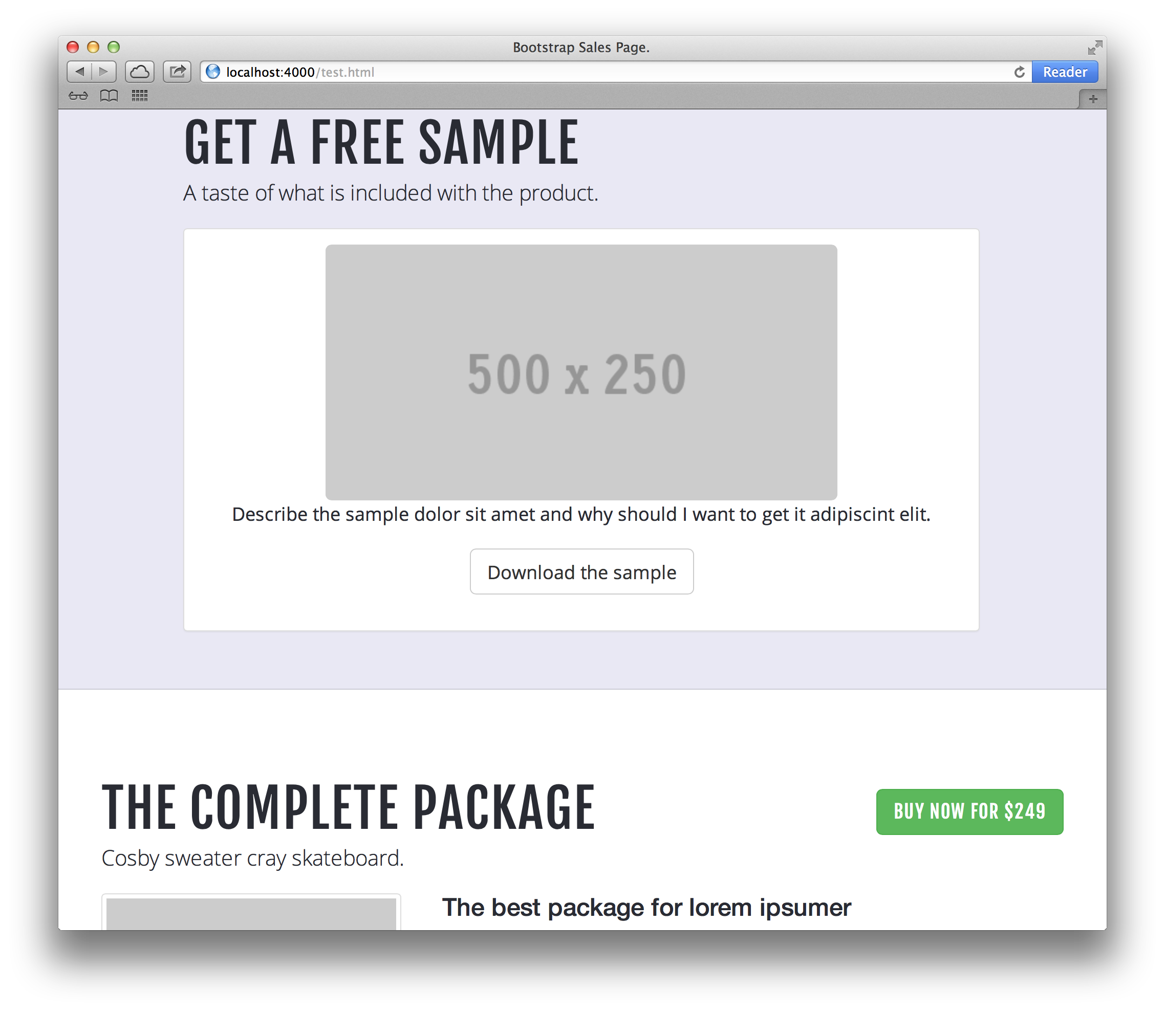 Bootstrap Sales Page Example 3