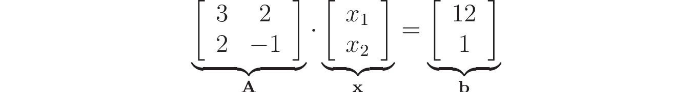 Linear system expressed using matrices and vectors