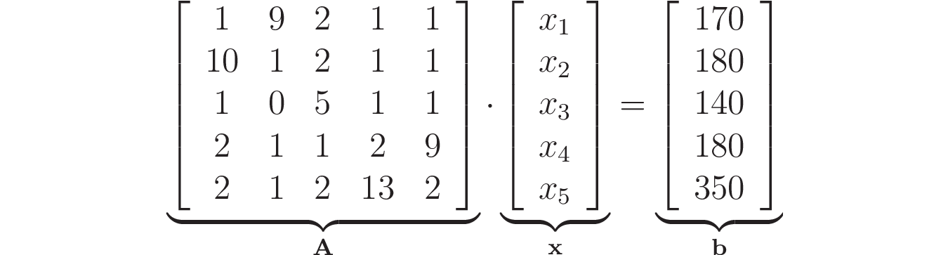 Linear system for all vitamins using matrices and vectors