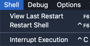 the menu bar for IDLE with the Shell menu brought up showing the options of view last restart