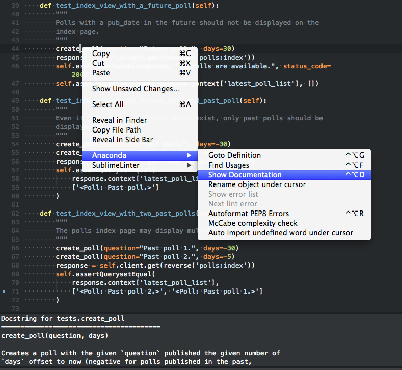 "The ""Show Documentation"" feature of the Anaconda plugin for Sublime Text"
