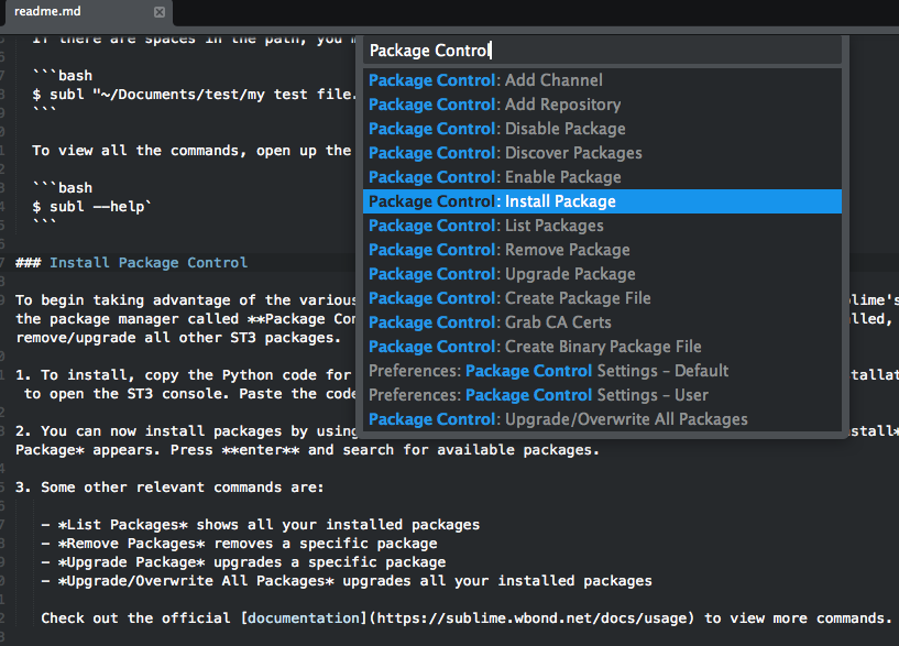 Package Control package manager in Sublime Text 3