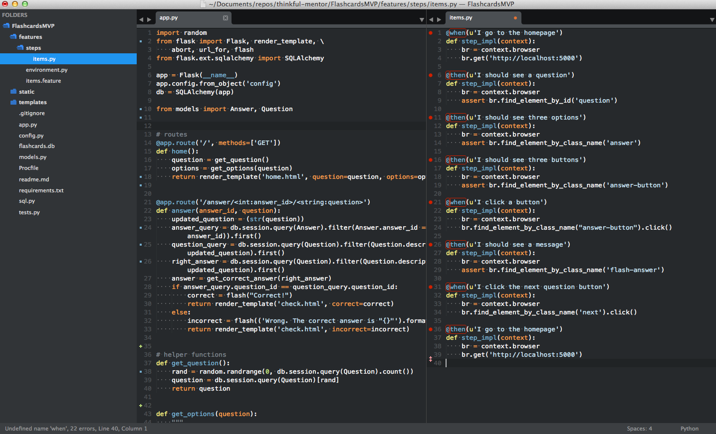 A screenshot of the Sublime Text 3 Splitscreen Freature