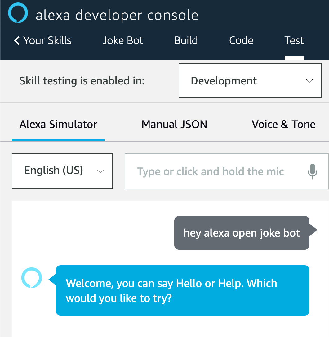 Testing Alexa Simulator