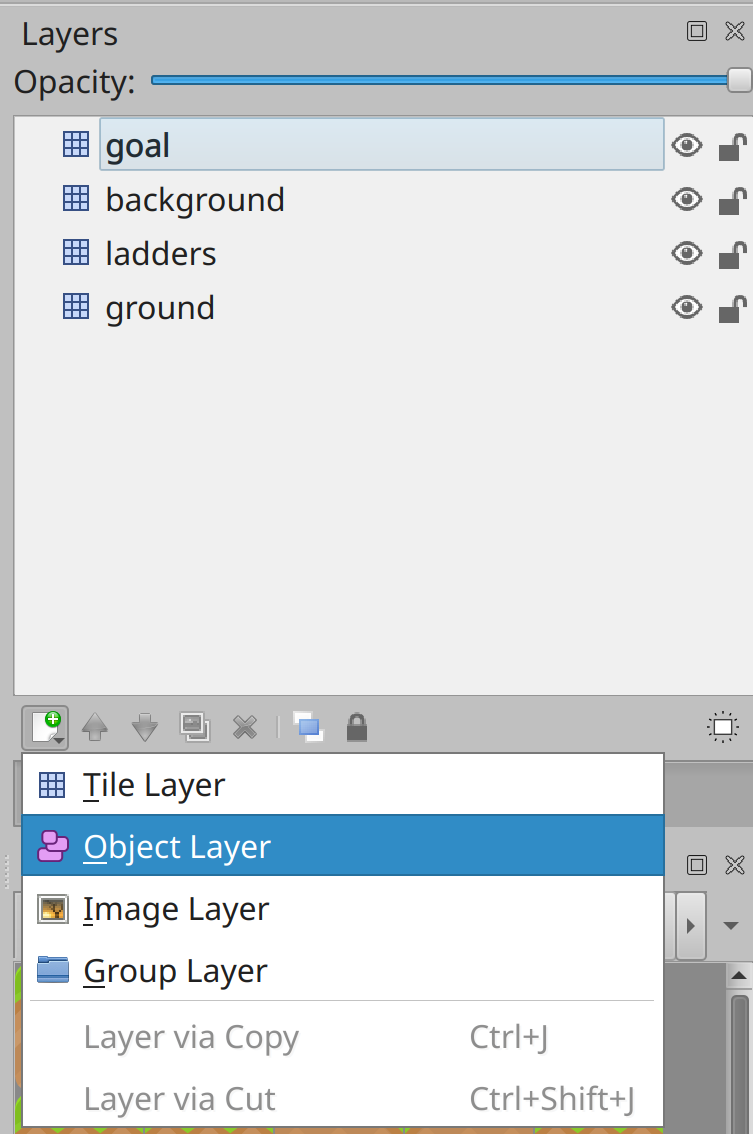 Creating a new object map layer in Tiled