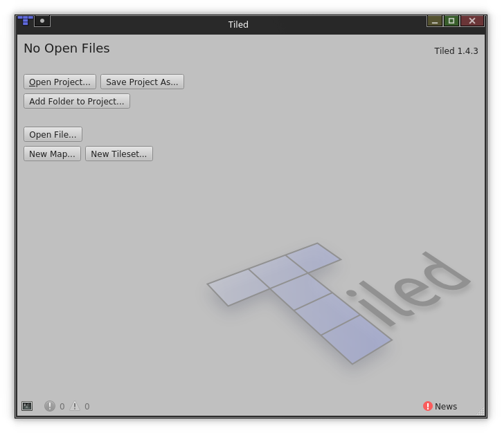 Tiled, the platformer editor, on first start