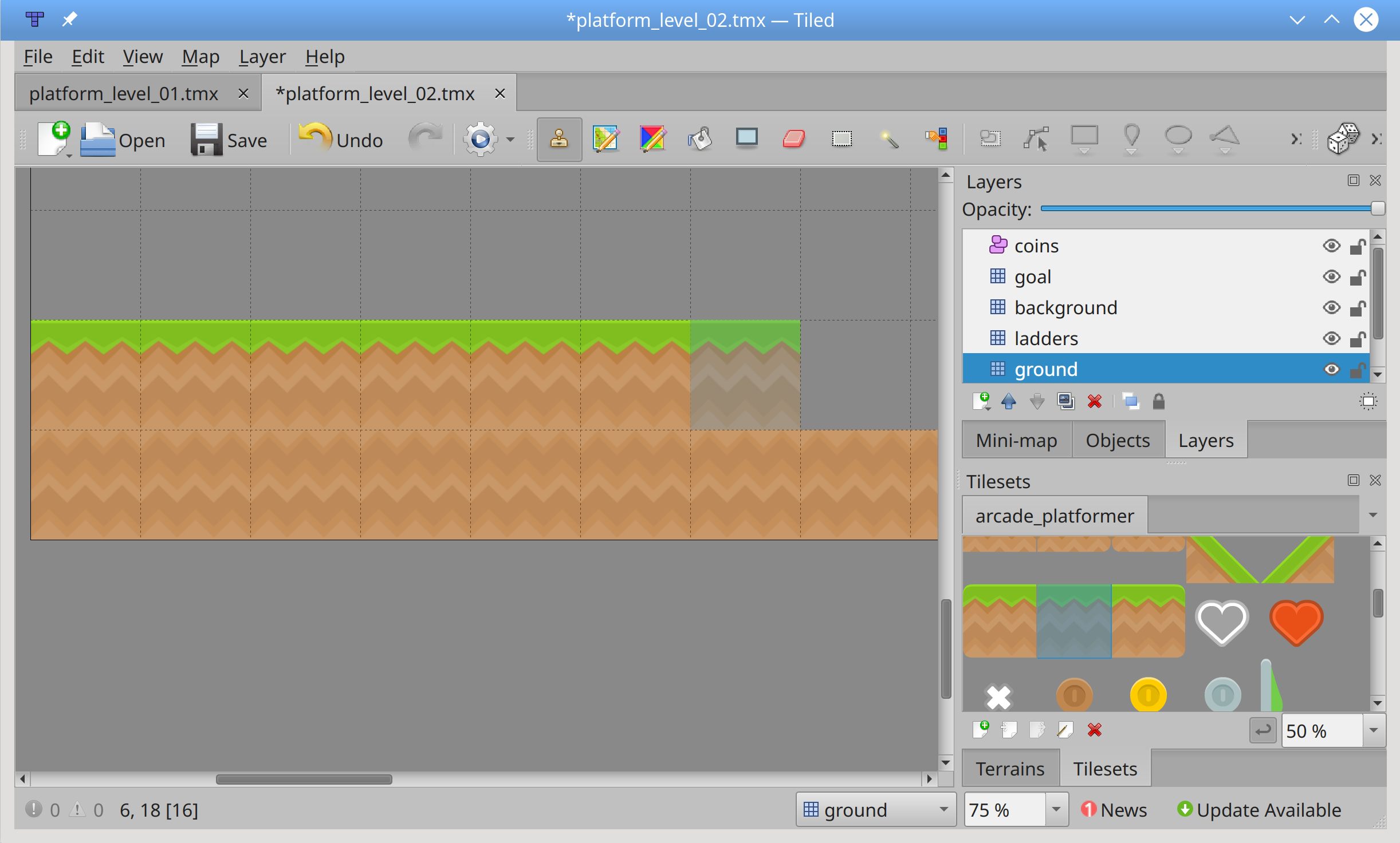 Placing grass tiles in Tiled