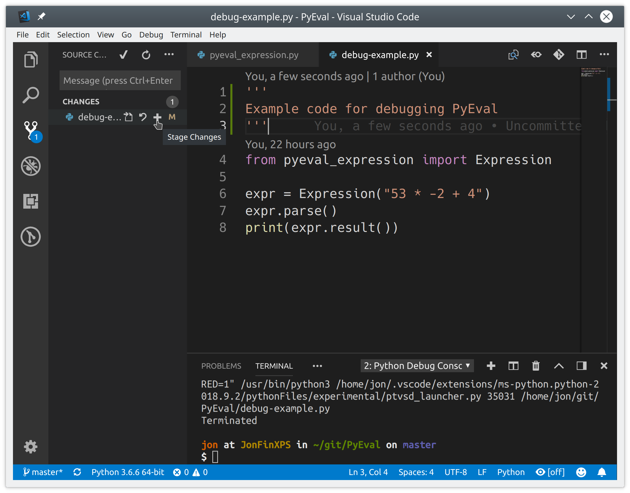 Committing changes in VSCode