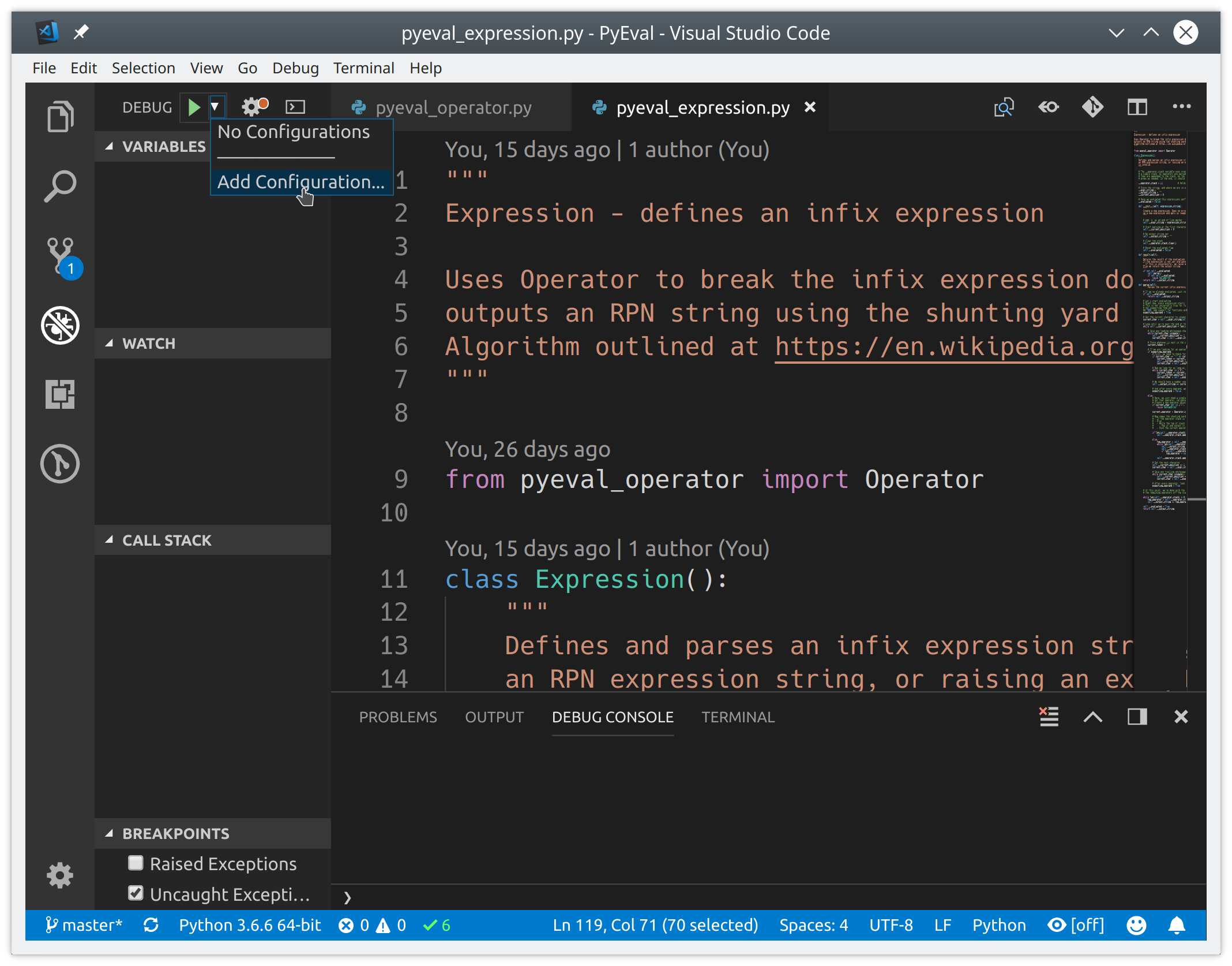 Adding a new debug configuration to VSCode