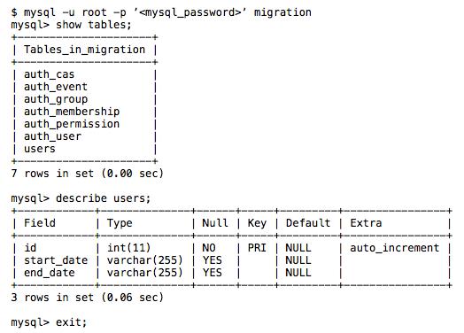 Web2py MySQL migration screenshot