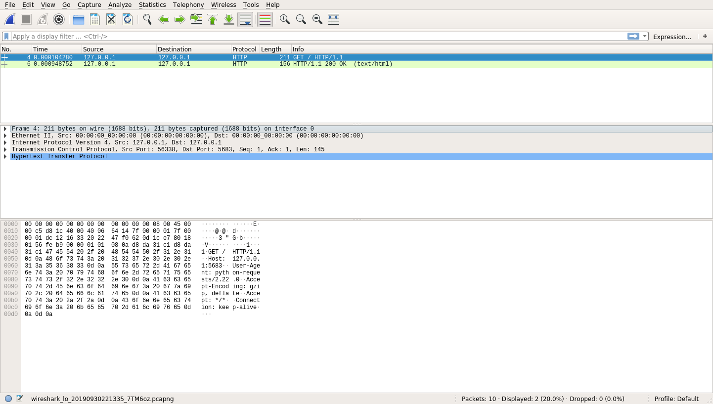 The first HTTP request in Wireshark