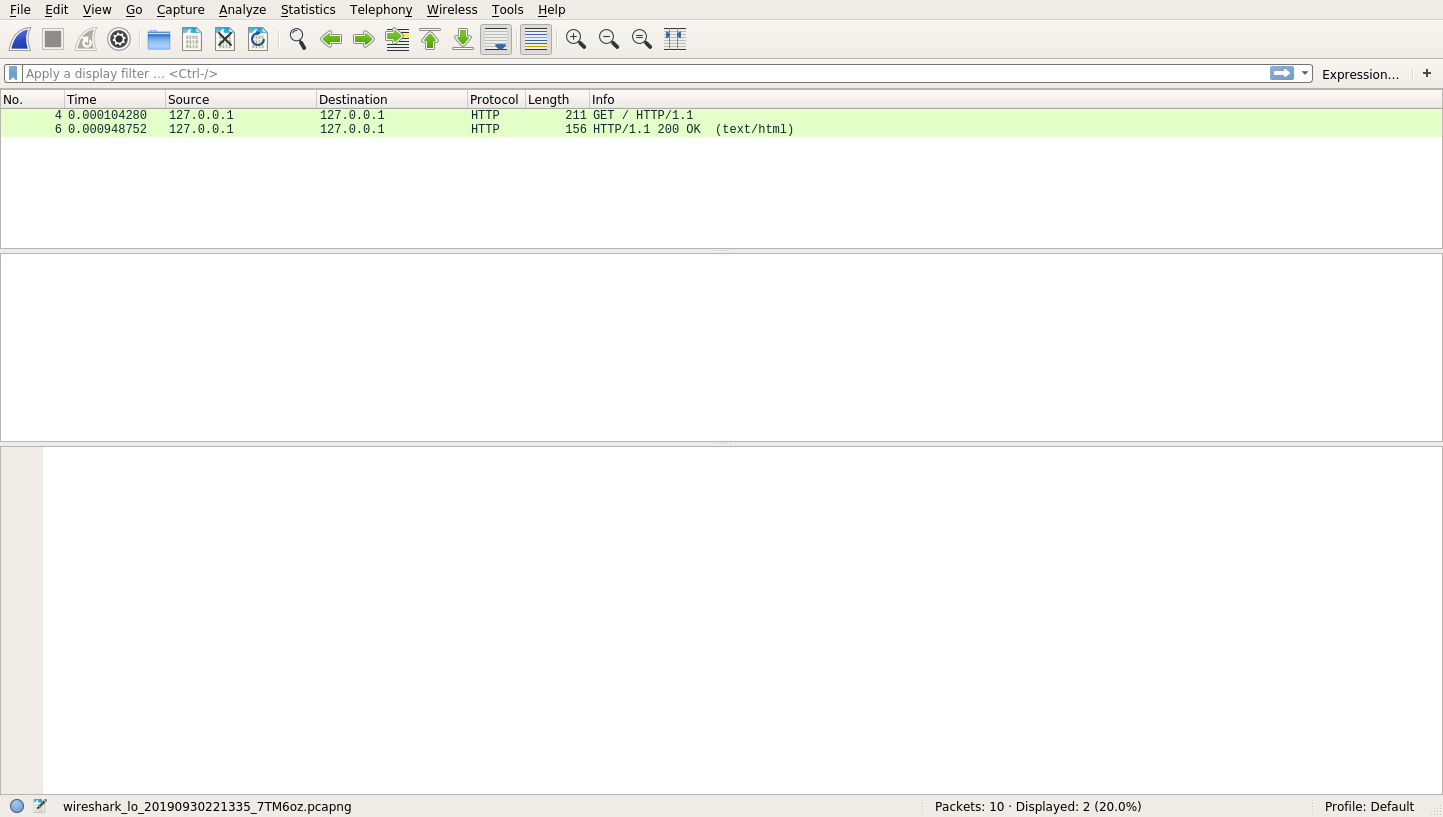 Wireshark with HTTP request and response captured