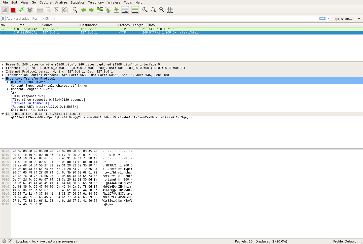 Wireshark's view of the HTTP response that was encrypted using symmetric encryption
